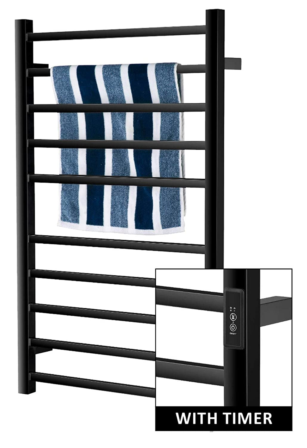 3 Timer Modes: ON//Off 4 H Carbon Steel Power Coated Built-in Timer with Led Indicators 10 Bars Wall Mounted 2 H Towel Warmer
