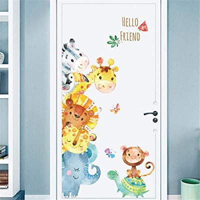 KUNAW 3D Cartoon Animals Wall Stickers DIY Removable Refrigerator Children Mural Decals for Kids Rooms Baby Bedroom Wardrobe Door Decoration Background (Animal): Baby