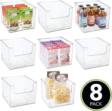 Organizador de frigor/ífico con Frontal Abierto para Nevera mDesign Juego de 8 Cajas de Almacenamiento de Alimentos Armario o congelador Transparente Caja de pl/ástico Libre de BPA