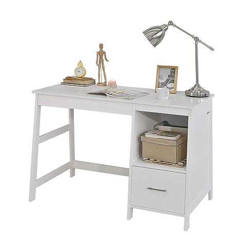 SoBuy Mesa de Escritorio, Mesa de Ordenador con 1 cajón y 1 Cuadrada,Color Blanco,FWT38-W,ES (Mesa)
