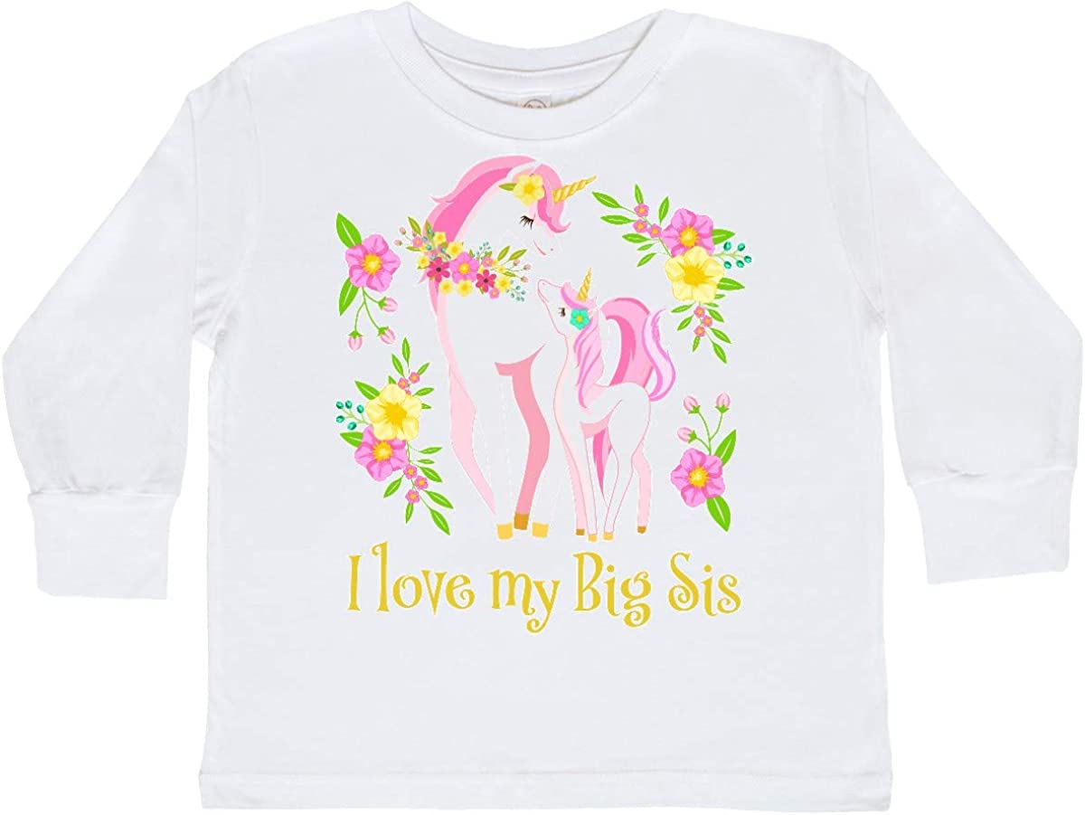 inktastic I Love My Big Sis Unicorn with Pink and Toddler Long Sleeve T-Shirt