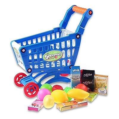 AAGOOD 1 Ajuste Educativo Carrito Juguete Infantil supermercado pequeño Carro de Compras con Plena Alimentos para los niños de los niños Niños Aprendizaje para el Desarrollo - Azul: Hogar