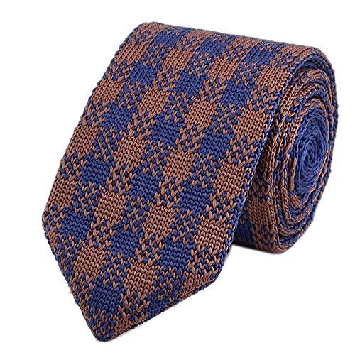 Men Knit Blue Brown Tan Tie Modern Basic Designed Groomsmen Wedding Suit Necktie