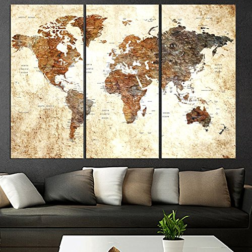 Original Art Set Of 3 Pieces Textured World Map Push Pin Canvas Wall Art For Living Room Large Canvas Print, World Global Map With Names, Framed, Extra Large Wall Art For Travel Home Decor Qn73 -