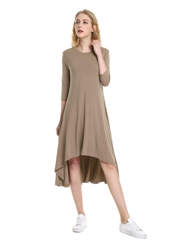 ZAN.STYLE Midi Asymmetrical Dress 3/4 Sleeve Dresses for Women Casual Round Neck High Low Hem Medium Coffee