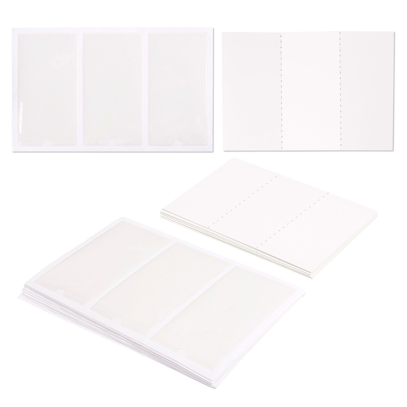 Juvale 30-Piece Self-Adhesive Label Holder Pockets with 30-Piece Blank Insert Cards - Ideal for Organizing and Identifying Binders and File Folders - Crystal Clear Plastic, 2.1 x 4 inches