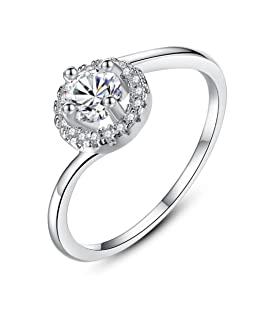 TEMEGO 14k Gold Thin Stackable Ring,Cubic Zirconia Halo Ring CZ Bypass Engagement Ring,Size 6