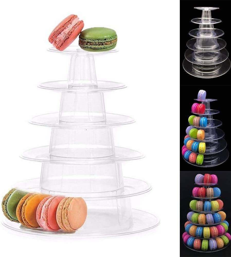 6 Tier Macaron Tower Display Stand, Messar Clear Round Macaron Tower Tray Macaron Display Shelf Rack and Plastic Cake Dessert Stand for Christmas Wedding Birthday Party Decor