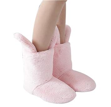 Chicas Lindas Orejas de Conejo Zapatillas Botas de Mujer Cálida Piso Antideslizante Botas de Algodón Casa