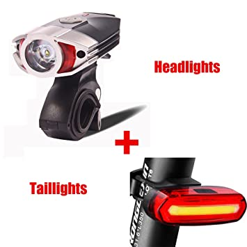 f5109ebcce0 FREEMASTER Bike Lights Set USB Rechargeable LED Waterproof Cycling Lights  LED Bike Front Light and Rear