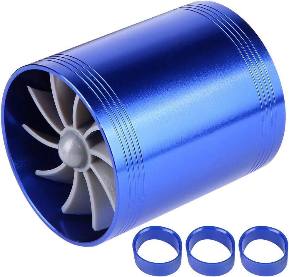 Black KIMISS Car Air Intake Turbonator Dual Fan Turbines Supercharger Gas Fuel Saver Turbo Super Charger Fuel Saver