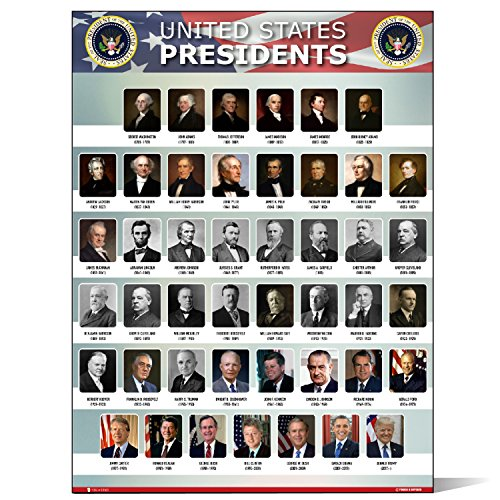 graphic about Printable Pictures of Presidents named United states Presidents of the united claims Of The us poster Fresh chart LAMINATED Clroom portrait university wall decoration understanding background flag metallic15x20