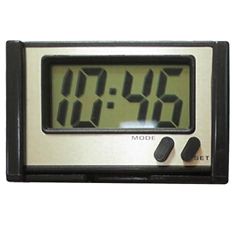 Gosear 4.6 x 2,2 CM pantalla adhesiva electrónica LED reloj Digital para el coche