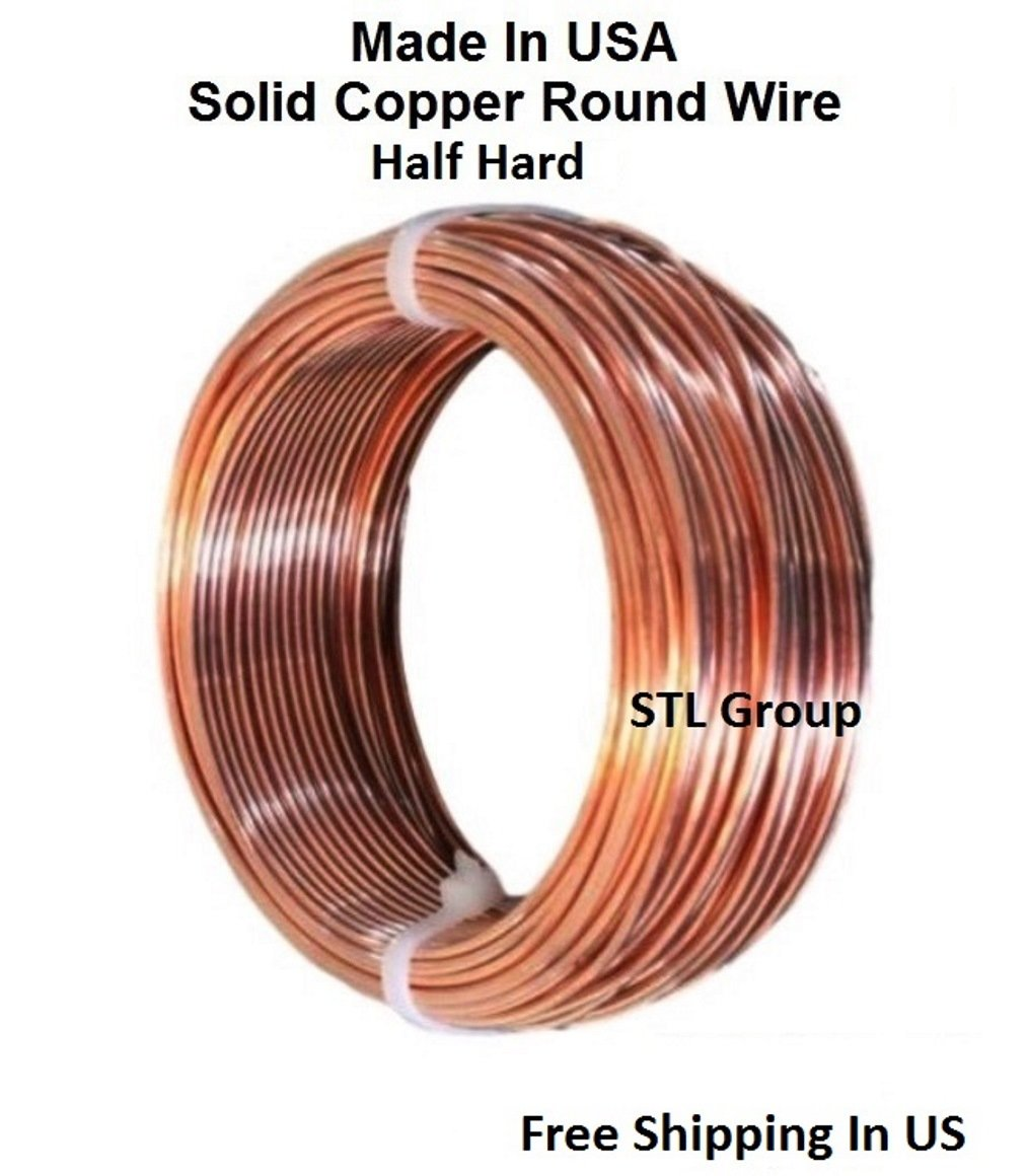 14 AWG BARE SOLID COPPER WIRE ( HALF HARD ) 80FT Coil by STL Group