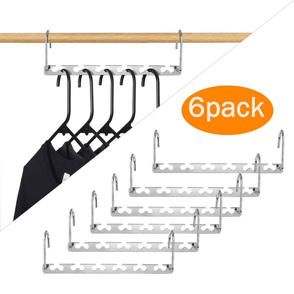 HOUSE DAY Space Saving Hangers 6 Pack Metal Magic Hangers Closet Space Saving Wardrobe Clothing Hanger Oragnizer, Updated Hook Design by HOUSE DAY