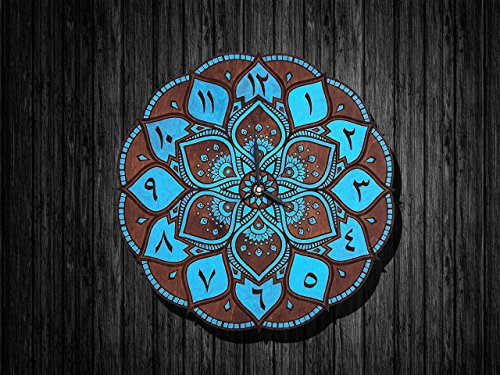 Mandala clock arabic style (wooden) - different colors