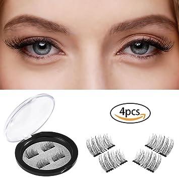 c363a9ef8e4 ... Double Magnetic Eyelashes, Handmade Soft False Eyelashes, Ultra Thin  Natural Look Fake Eyelashes, Dual Magnetic Reusable Fiber Eye Lashes One  Pair 4 PCS ...