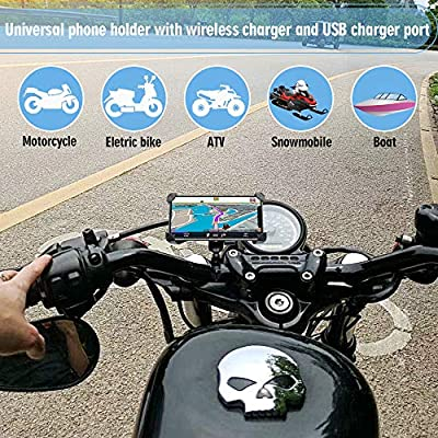Leepiya Motorcycle Phone Mount with Wireless and USB Charger 10W Qi Fast Charging Cell Phone Holder for Motorcycle ATV Boat Snowmobile Compatible with iPhone 11 Xs MAX XR X 8 8P Samsung S10 S9 S8