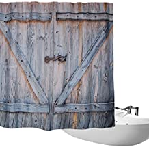 shower curtain - Bathroom Art Country Decor,Old Wooden Garage Door American Style Decorations for Bathroom Print Curtains Vintage Rustic Theme Decor Home Antiqued Look Polyester Bronze Charcoal