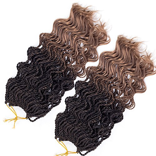 Senegalese Twist Crochet Braids Wavy Ends Synthetic Braids Hair Extensions 35strands/pack FreeTress Curly Ombre Braiding Hair Kanekalon Blonde 85g/pcs (14 inch 3pcs, #1b/27)