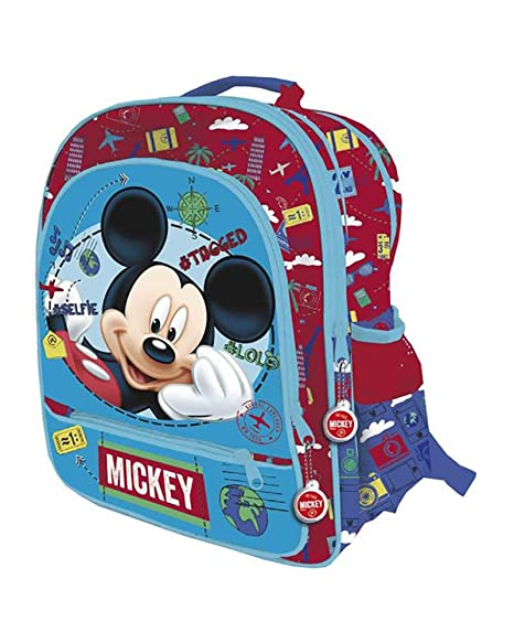 DISNEY MICKEY Mochila con 4 cremalleras adaptable a carro trolley