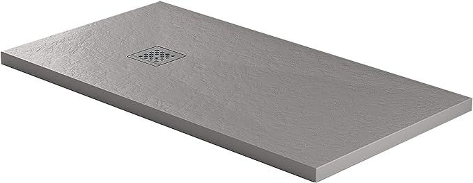 Essence - Plato de Ducha de 80 x 180 cm, Piedra de mármol de Resina - Jade - Efecto Roca - Grosor 3 cm - Rejilla cromada de Acero Inoxidable - Color Gris Cemento: Amazon.es: Hogar