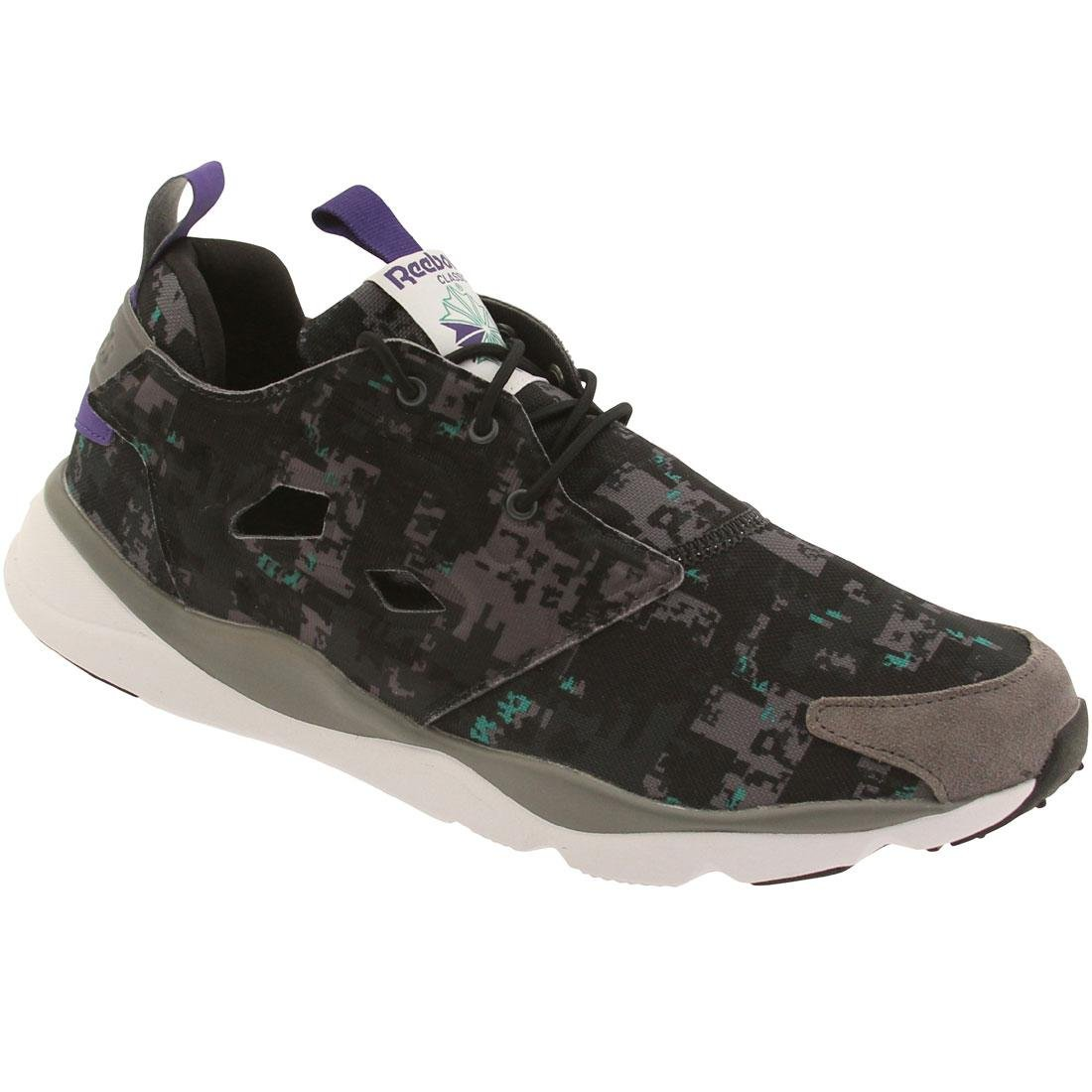 Reebok Lifestyle Men's Furylite SOC Shark/Gravel/Black/Glass Green/White/Team Purple Sneaker 10.5 D (M)