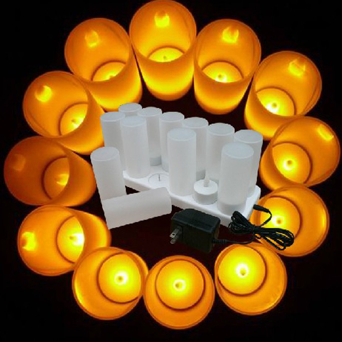 Winterworm Rechargeable Flameless Yellow Flickering Tea Light Candle with Frosted Holder for Xmas Party Wedding Festival Holiday Party Decoration Supplies (Set of 12, With Remote Control) by Winterworm (Image #3)