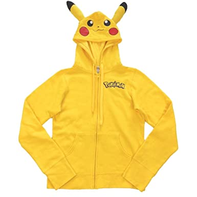 Amazon.com: Pokemon Pikachu Zip-Up Hoodie Sweatshirt with Ears ...