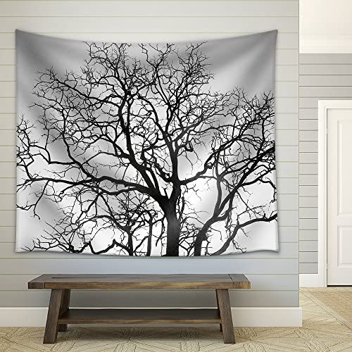 Dead Tree Branch Black and White Fabric Wall