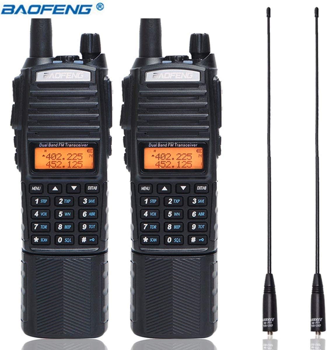2 Pack BaoFeng UV-82 Plus Dual PTT High Power 3800mAh DC Connector Battery UV82 8W Dual PTT Band Transceiver Amateur Two-Way Radio 771 Antenna