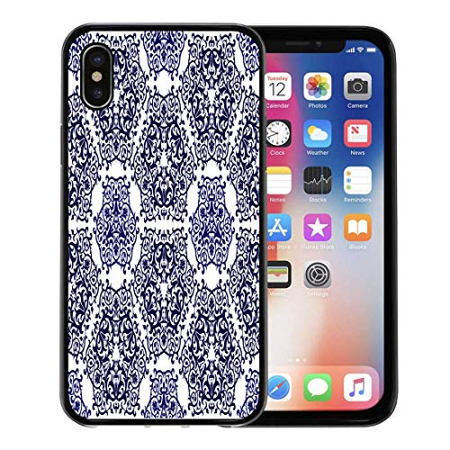 (Emvency Phone Case for Apple iPhone Xs case,Blue Spanish Moroccan Pattern Use As Arabic Abstract Porcelain Antique for iPhone X Case,Rubber Border Protective Case,Black)