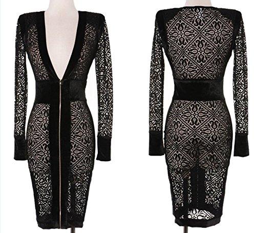 Robe de soirée mi-longue noire transparente en dentelle avec glissière à l'avant Motif floral Taille 38-40