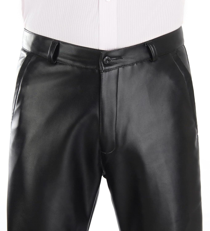 Duolunjindun - Pantalones Largos de piel Para Hombre Otoño Invierno Cálido Negro Hombre Pantalón de Cuero Largo con Forro Suave… Cri1zr5TH