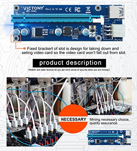 VICTONY 6-Pack 6 Pin PCI-E 1x to 16x Powered Riser Adapter Card w/ 60cm USB 3.0 Extension Cable & 6 Pin PCI-E to SATA Power Cable - GPU Riser Adapter - Ethereum Mining ETH+MintCell 6 Cable Ties(6 Pin) by VICTONY (Image #3)