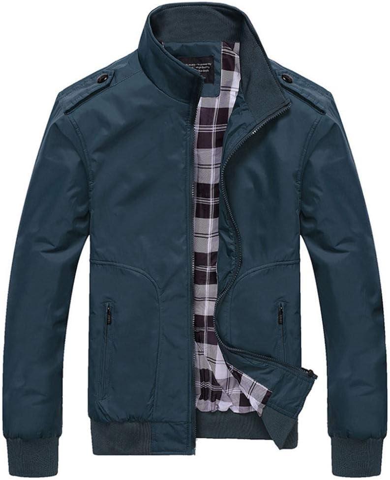 EIJFKNC Veste Hommes Vestes Printemps Automne Casual Hommes Manteaux Solide Couleur Hommes Sportswear Col Montant Slim Vestes Bomber Vestes Hommes 4XL vert