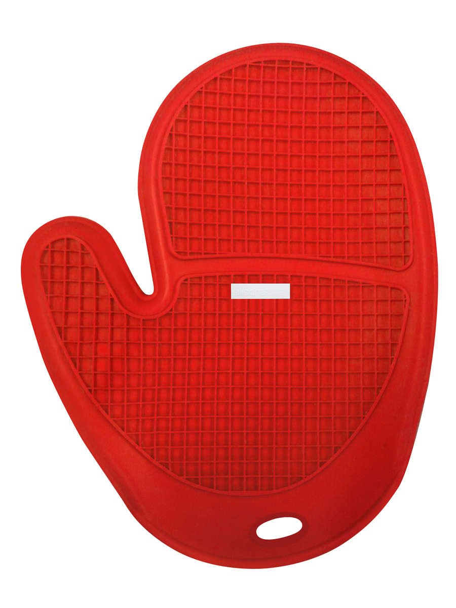 Siliconezone Grid Oven Mitt, Red