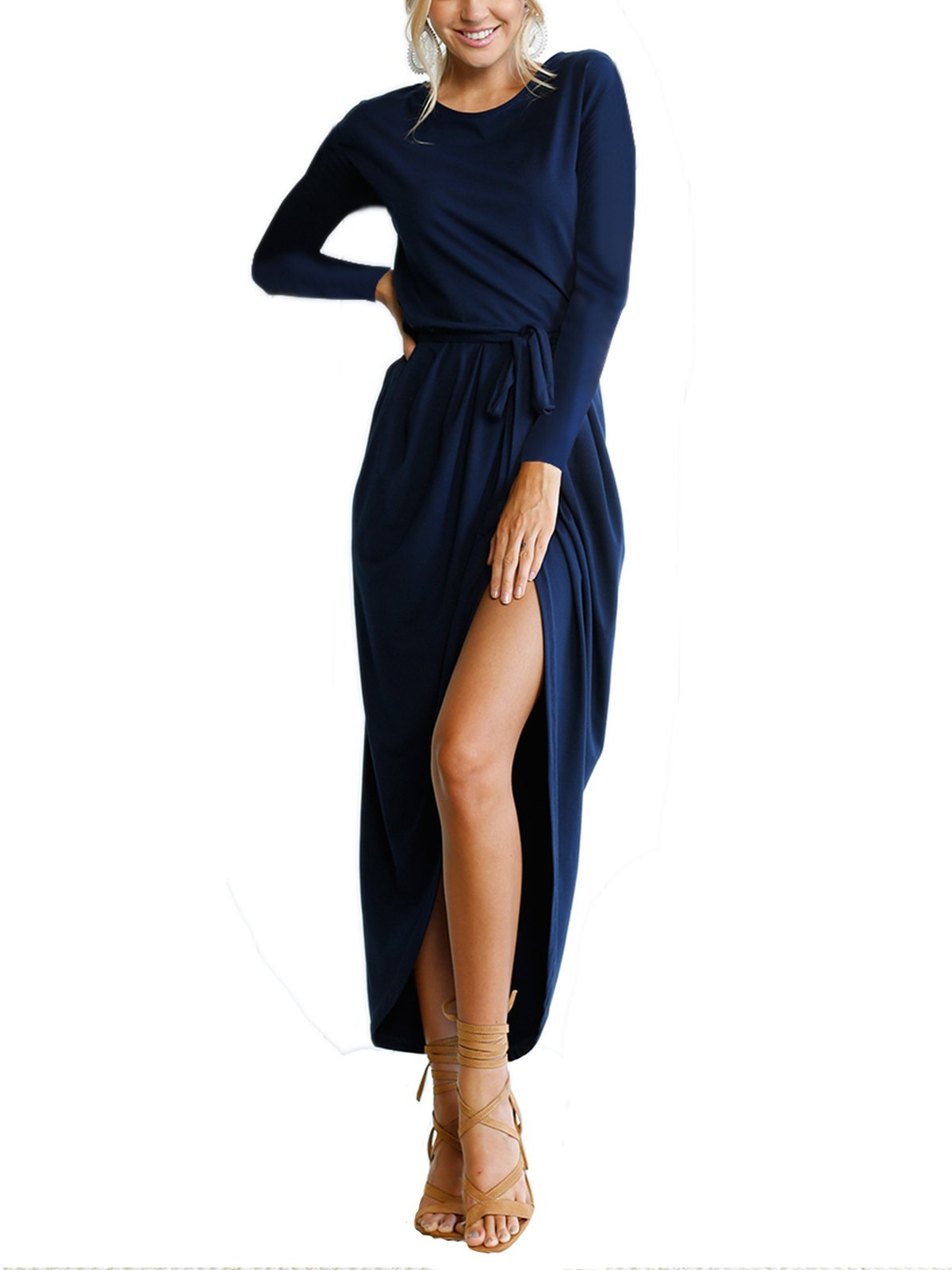 VYNCS Women's Casual Long Sleeve Wrap Front Slit Solid High Waist Cocktail Long Maxi Dress with Belt (Navy Blue, X-Large)