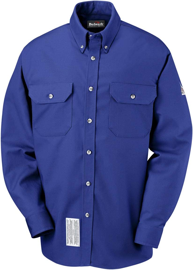 Bulwark Size 3X Tall Royal Blue Cotton Nylon Long Sleeve Flame Resistant Shirt With Button Closure