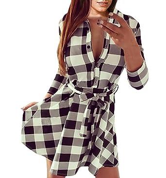 0ab23a19d794 Femme Casual Mini Robe à Carreaux Plaid Longue Chemisier Tops Blouses à  Manches Longues Col V