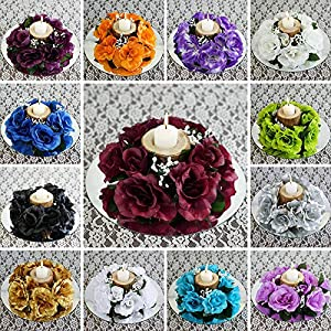 24 Artificial Roses Flowers Candle Rings Centerpieces Wedding Party Flowers Sale 80