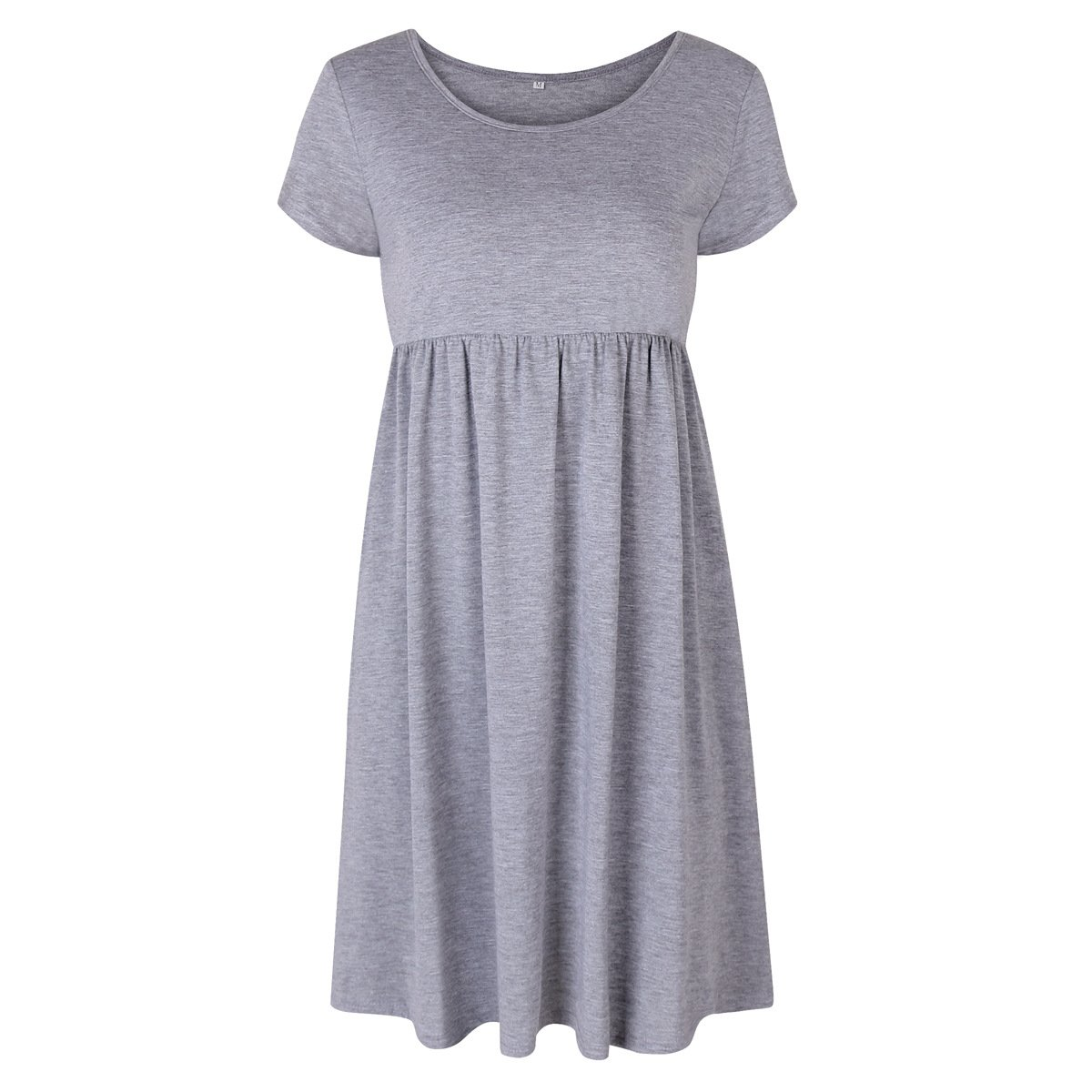 Womens Crewneck Cap Sleeve Pleated Swing Casual Tunic T-shirt Flare Midi Dress at Amazon Womens Clothing store:
