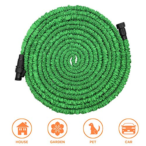 POYINRO Expandable Garden Hose, 50ft Strongest Expanding Garden Hose with Triple Layer Latex Core & Latest Improved Extra Strength Fabric Protection for All Your Watering Needs Improved Design(Green)