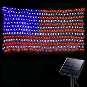 American Flag Lights Outdoor Solar Powered,420 Super Bright LEDs,6.5ft x 3.28ft,Waterproof Flag Net Light of The United States for Independence/National/Memorial Day,July 4th,Christmas Decoration