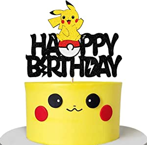 Glorymoment Pikachu Birthday Cake Topper for Baby Shower Child Birthday Party Supplies, Adorable Glitter Pokemon Cake Toppers for Inspiration Pokeman Go Theme Party Cake Decorations (6.7'' x 5.35'')