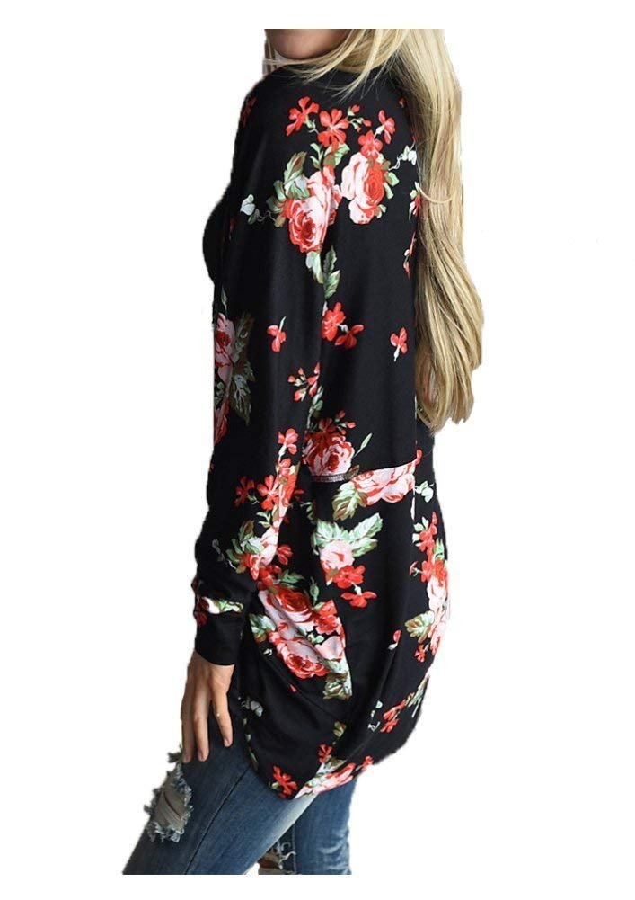 AuntTaylor Womens Casual Floral Print Coverup Coat Tops Outwear Blouse Black 3XL