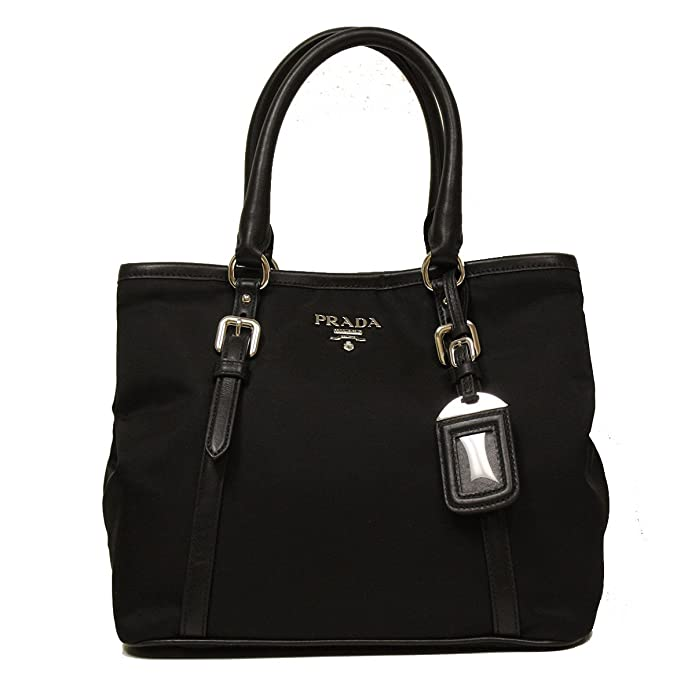 Prada Black Tessuto Soft Calf Leather Bowling Bag Medium Top Handle Handbag  with Shoulder Strap BN1841: Handbags: Amazon.com