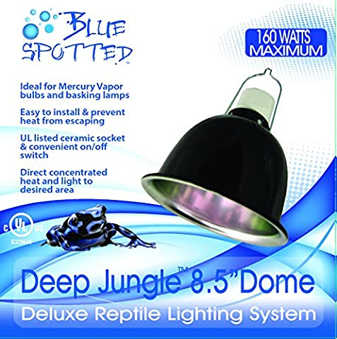 Deep Jungle Dome 8.5 Inch Lamp Fixture by Blue Spotted. Use Reptile Lamp Fixture With Heat Emitters, Sunning Heat Lamps, UVB Lamps, and Terrariums For Reptiles, Amphibians, And Small Animals, Birds,