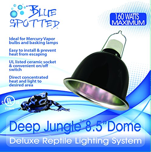Blue Spotted Deep Jungle Dome 8.5 Inch Lamp Fixture Use Reptile Lamp Fixture with Heat Emitters, Sunning Heat Lamps, UVB Lamps, and Terrariums for Reptiles, Amphibians, and Small Animals, Birds,