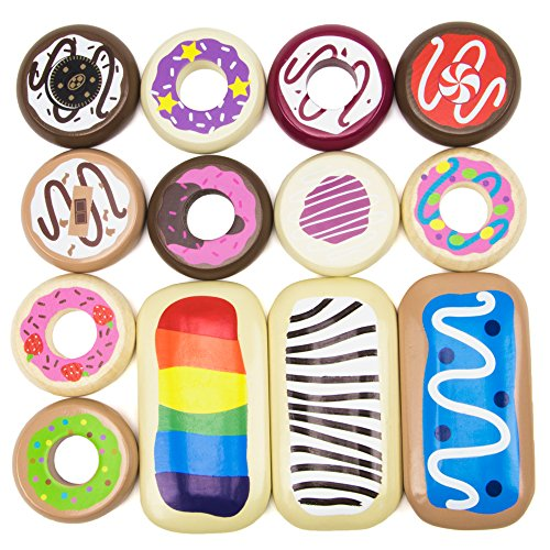 Imagination Generation Baker's Dozen Wooden Donuts, 13 Assorted Colorful Wood Eats! Pastries ()